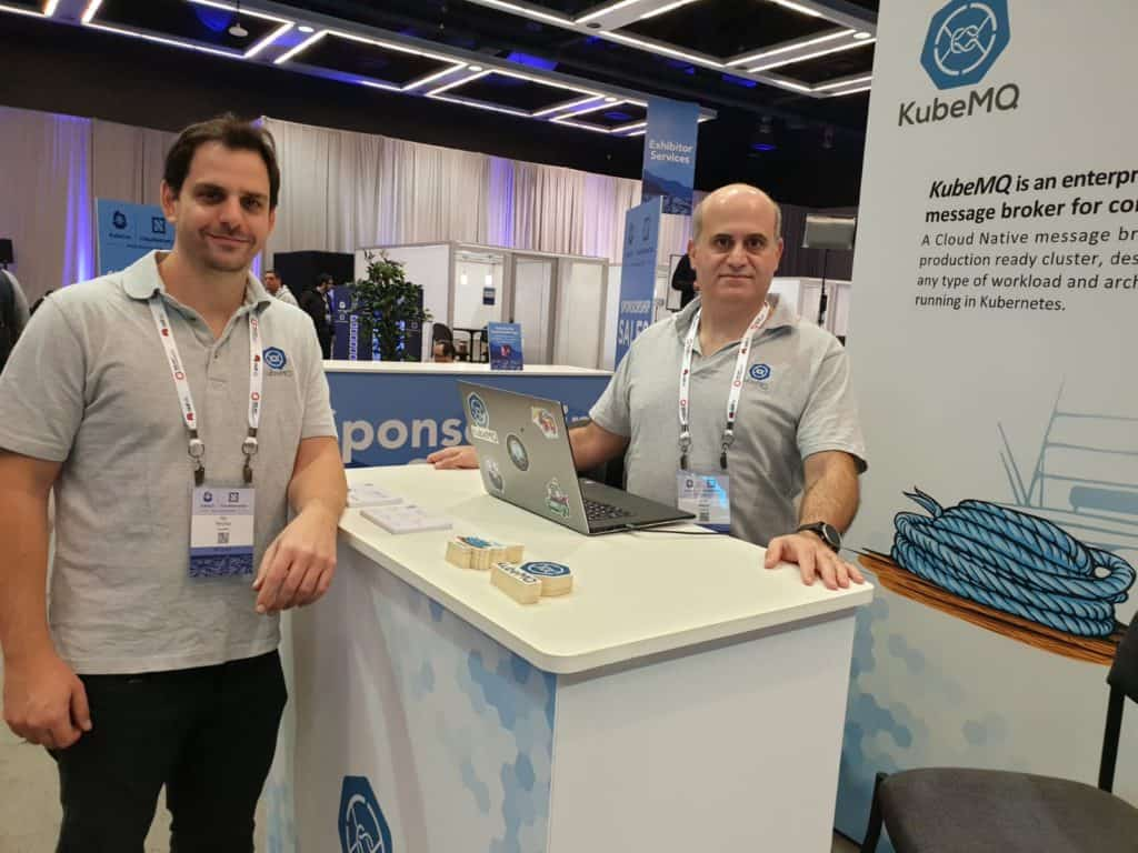 Lior Nabat, KubeMQ founder and Nir Hershler preparing to start KubeCon NA 2018 day 1